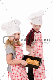 children with baking