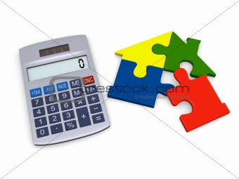 Calculator with house puzzle