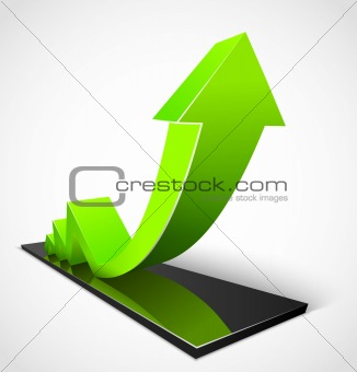 3d business green arrow graphs. Vector illustration