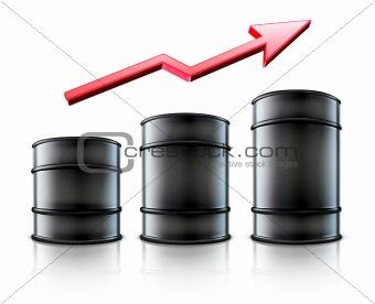 Three black metal oil barrels