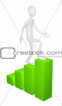 Man with easel isolated on white background.