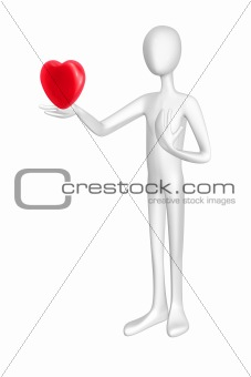 Man and heart isolated on white background.