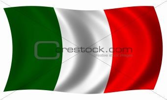 flag of Italy in wave