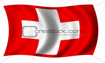 Flag of Switzerland in wave