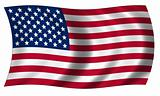 Flag of united states of America in wave