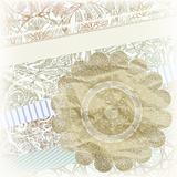 golden snowflake on scrapbook pattern
