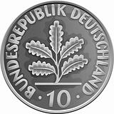 vector Germany Money silver coin with Oak Leaves
