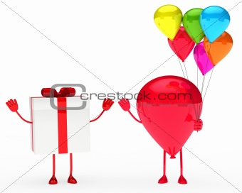 gift and balloon figure