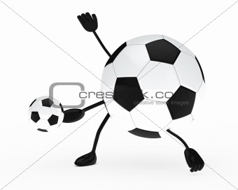 football figure shoots a ball