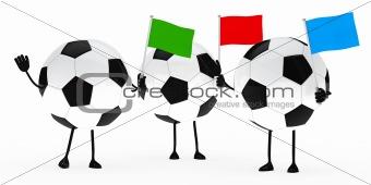 football figure wave flags