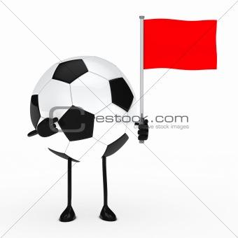 football figure with flag