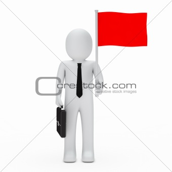 business man hold flag