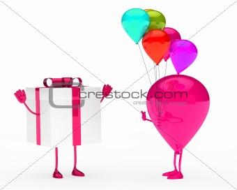 gift and balloon figure