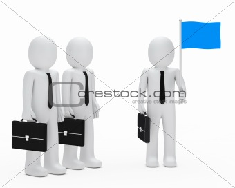 business man team hold flag