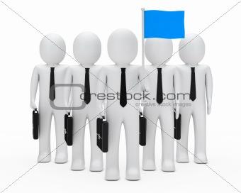 business men team hold flag