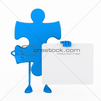 puzzle figure hold billboard