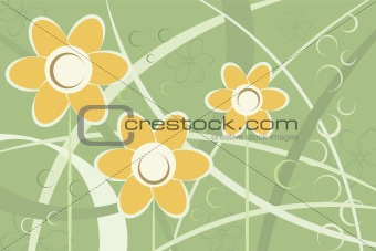 Abstract stylized daisy flowers background