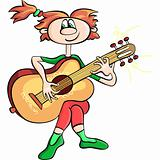 vector cartoon girl playing the guitar