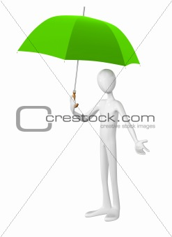 Man with umbrella isolated on white background.