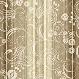 Seamless gold striped floral pattern