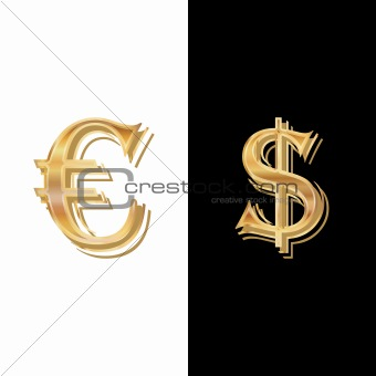 Dollar and Euro on a black-and-white background