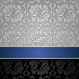 seamless decorative background silver with a blue ribbon