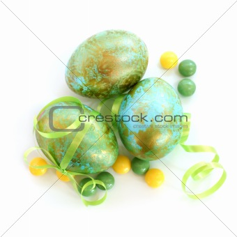 The colorful painted Easter eggs