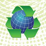 earth globe and recycling arrows symbols