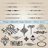 Vintage calligraphic design elements