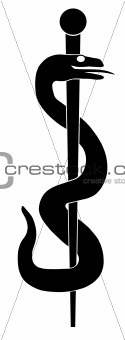 Rod of Asclepius Snake Symbol Illustration