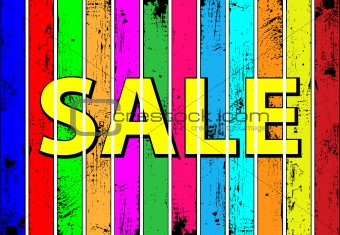 Vector conception of successful sales. Tag SALE on a multicolored wooden plank