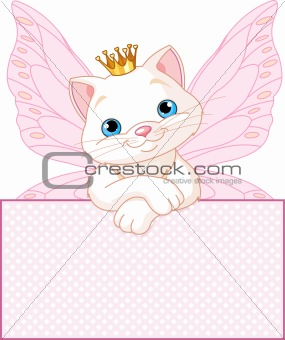 Princess Cat over a blank sign
