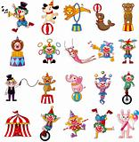 cartoon happy circus show icons collection