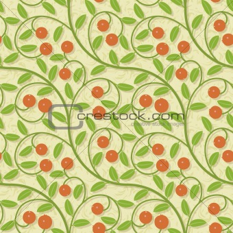 seamless red cranberries stylized soft colors background pattern