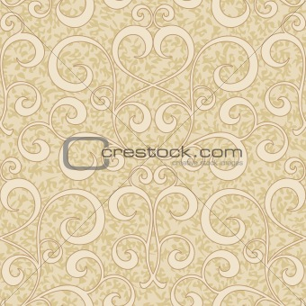abstract beige flourish floral swirl seamless background pattern