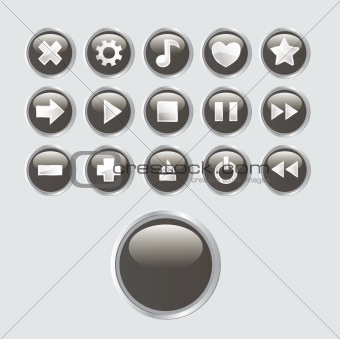 A set of buttons relating to music and sound.