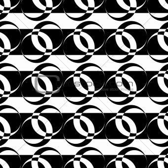 Seamless pattern with circle elements on striped texture.