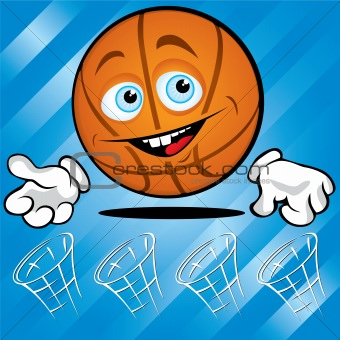 Funny smiling basket ball