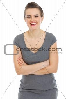 Portrait of happy woman in dress