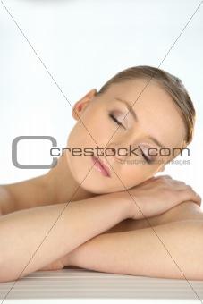 close shot of blonde sleeping