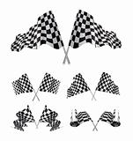 Checkered Flags set illustration on white background.