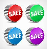 Set of colorful 3d sale labels. Vector illustration
