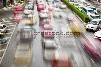 Traffic on the streets. Bangkok
