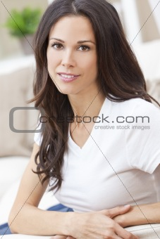 Portrait of Beautiful Woman or Girl Smiling