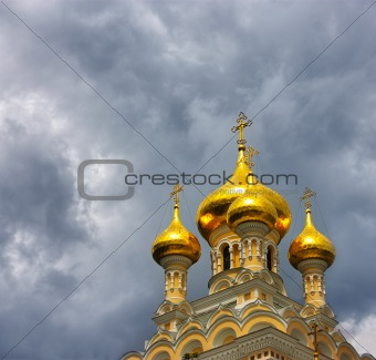 Alexander Nevsky Cathedral in Yalta (Crimea, Ukraine). Copy-space. Perfect Faith concept. Dramatic clouds.