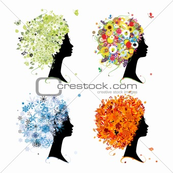 Four seasons - spring, summer, autumn, winter. Art female head for your design