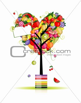 Fruit tree in shape of heart for your design