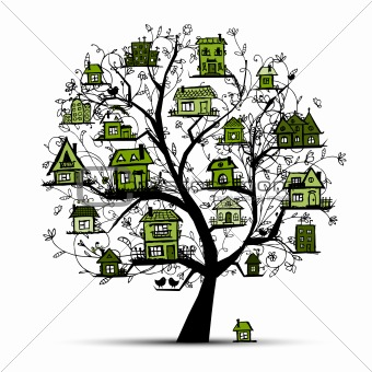 Tree with green houses on branches