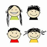 Smiling people icons for your design