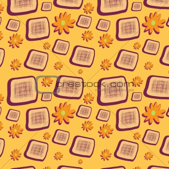 Seamless background with squares and flowers
